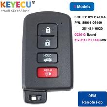 KEYECU Smart Keyless Entry Remote Auto Schlüssel für Toyota Corolla Camry Avalon 2011 2018 Fob FCC ID: HYQ14FBA 0020   P/N: 89904 06140