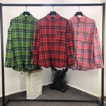 19ss Palm Angels Plaid Shirts Men Womenlong Sleeve Shirt Homme Coats Streetwear Bomber Camouflage