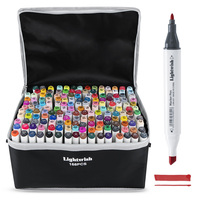 Lightwish 168 Colors Marker Set Dual tip Drawing Sketch Marker Pens Alcohol Based for Sketching Drawing Cartoon Painting Design