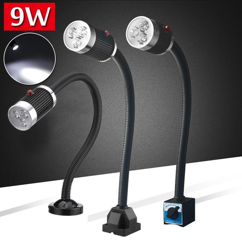 9W DC110-220V LED CNC Machine Tool Light Lathes Lamp Flexible Gooseneck Led Workshop Working Lamp Magnetic Industrial Lamp
