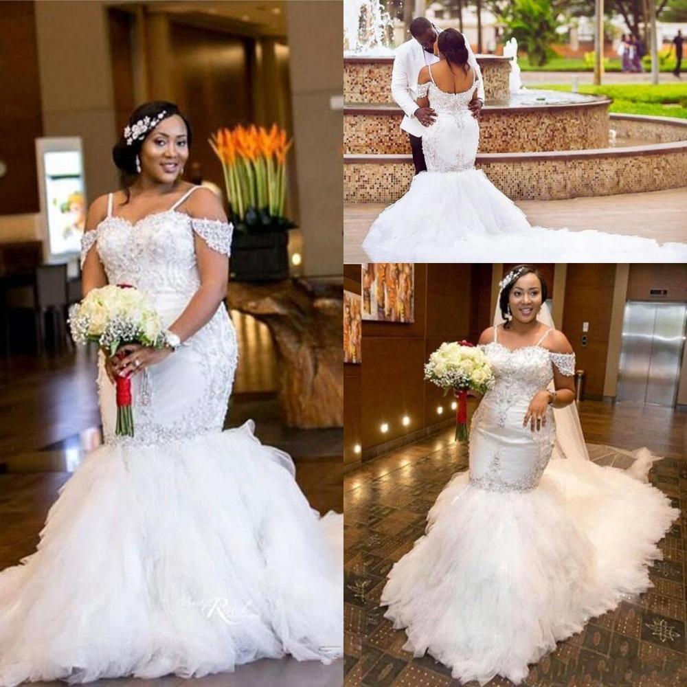 Brilliant Plus Size Mermaid Wedding Dress African Sexy Off Shoulder 18  Sparkly Crystal Cathedral Train Arabic Dubai Lace Brida