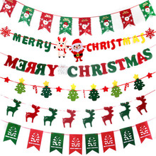 Christmas Decorations Flags Merry Santa Claus Tree Flag Hanging Non-woven