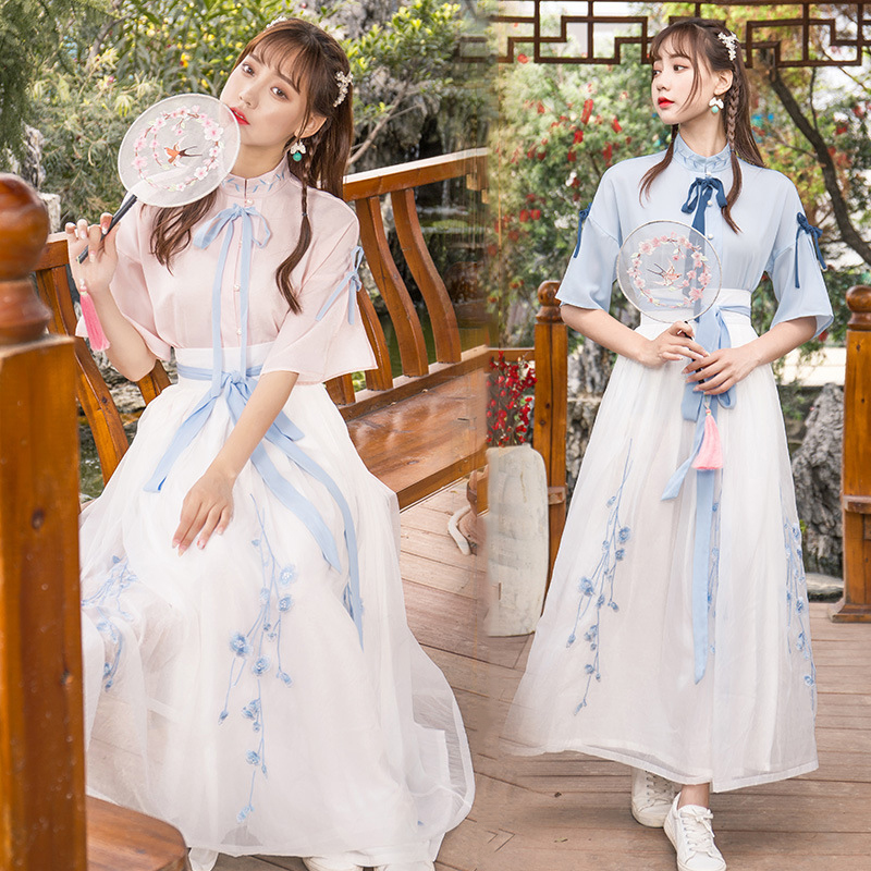 White China Han Element Clothing Blue Traditional Chinese Clothes Women Costume Hanfu Improved Pink Female Dynastie Tang Skirt
