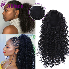 цена на AILIADE 14 Drawstring Afro Curly Ponytail Synthetic Hair Bun Chignon Hairpiece For Women Clip in Hair Extension