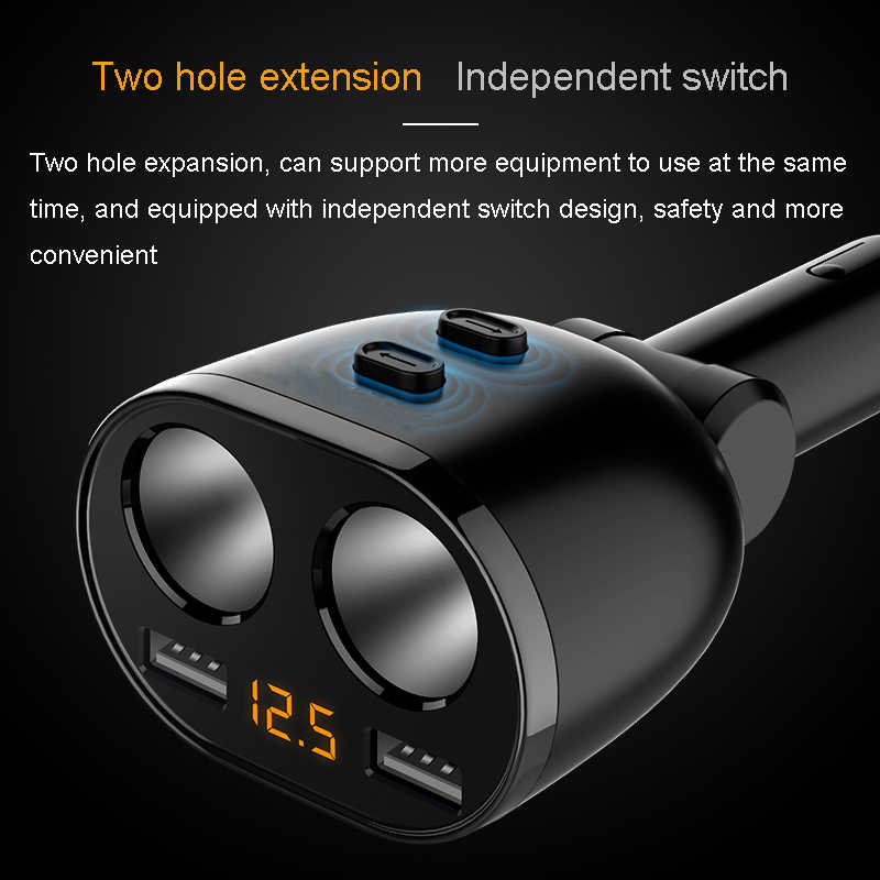 5V 3.6A Dual USB מטען לרכב 80W מצית שקע חשמל מתאם עבור סמסונג גלקסי s8 iPhone 7 8 X טלפון מטען
