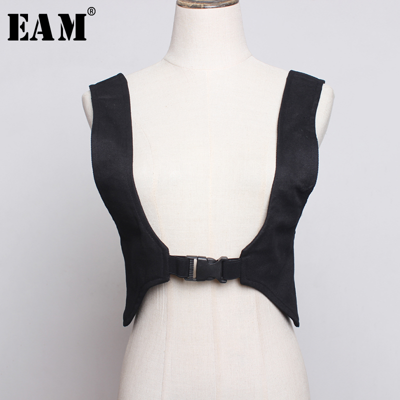[EAM]  Black Brief  Split Joint Strapless Belt Personality Women New Fashion Tide All-match Spring Autumn 2020 1H614