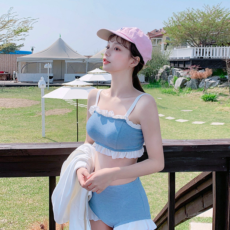 Swimwear Woman Girl Swimsuit Tankini Women Two Pieces For Separate Bathing Suits Girls Female Size Edge High Waist Polyester