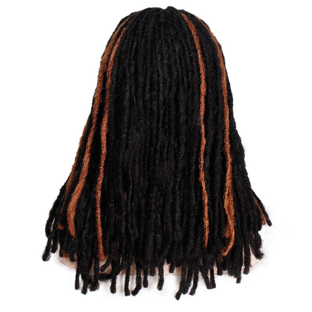 Штампованный славный 14 дюймов синтетический парик микс коричневый плетение волос плетеные парики для черных женщин средняя часть термостойкого волокна - Цвет: WL9343