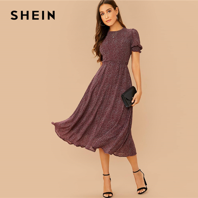 SHEIN All Over Print Flared Frill Boho Dress With Belt Women Summer Holiday High Waist Puff Sleeve Shirred A Line Midi Dresses 2