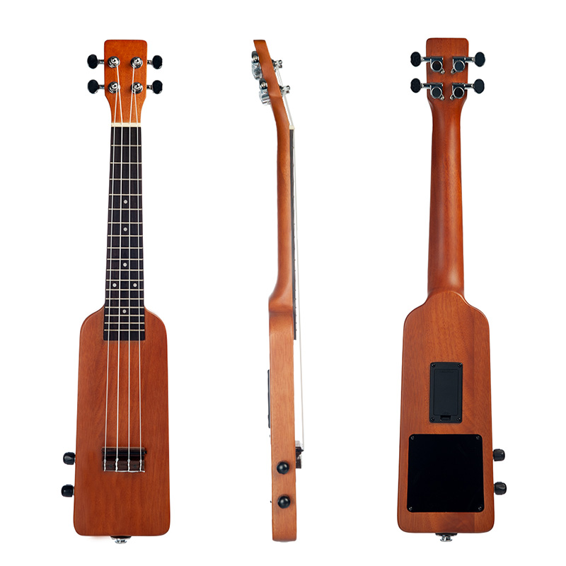 Naomi Natural 23 Inch Okoume Electric Ukulele Ukelele Uke Kit With Gig Bag 3.5Mm Audio Cable Silent Electric Ukulele Concert Uke