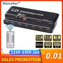 2020 4K @ 60Hz macierz HDMI 4x2 przełącznik Splitter wsparcie HDCP 2.2 pilot na podczerwień przełącznik HDMI 4x2 Spdif 4K HDMI 4x2 przełącznik matrycowy