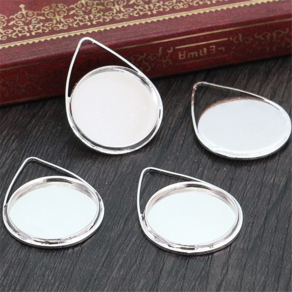 10pcs 20mm Inner Size Bright Silver Plated Copper Material Drop Style Handmade Cabochon Bases Cameo Base Pendant (D2-18)