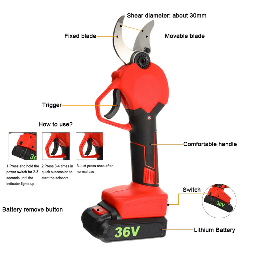 Electric Pruning Dual 1 Branch Battery Cordless 36V Tool Pruning Shears Lithium Orchard Cordless Rechargeable Battery Pruning