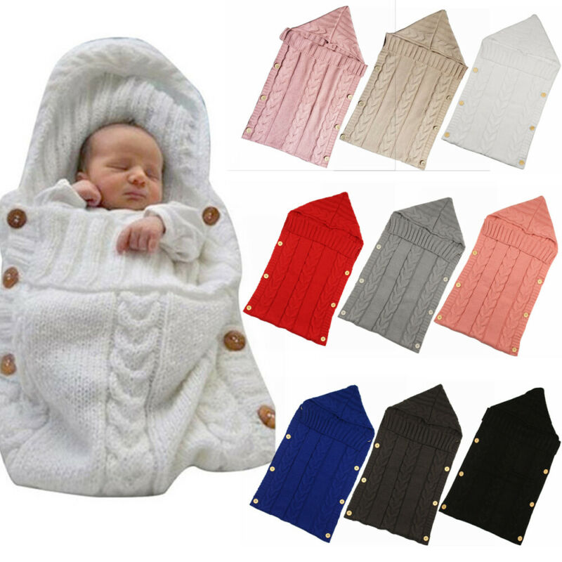 2020 Baby Knit Buttons Sleeping Bag Bedding Clothing Newborn Baby Infant Soft Solid Warm Swaddle Wrap Warm Blanket  70*35cm