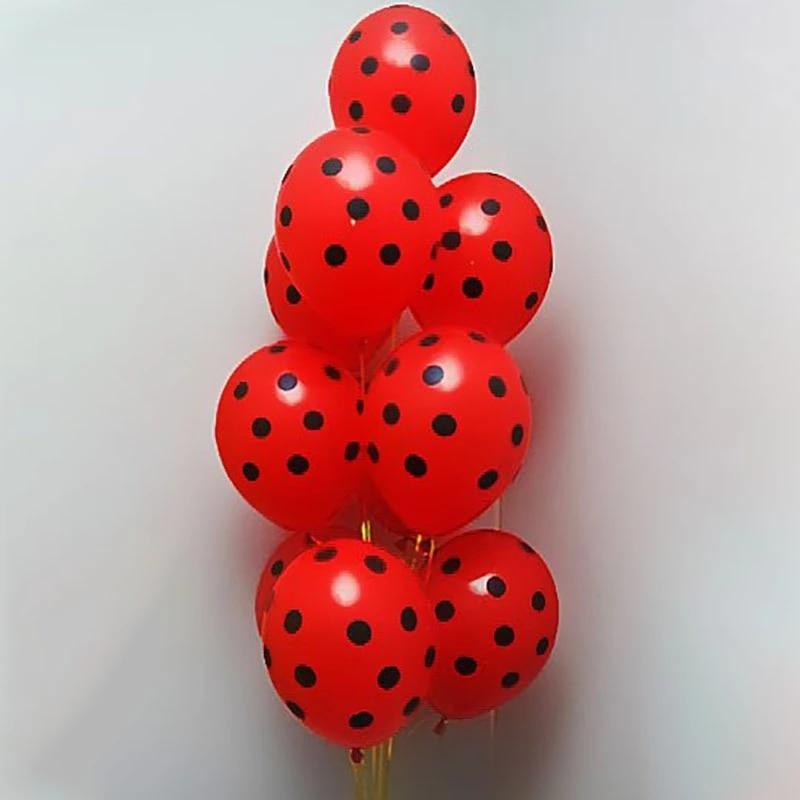 12 шт. в упаковке, красные, черные латексных шарика в горошек с Божьими коровками для душа для декорации бальное свадебное с днем рождения Дет...