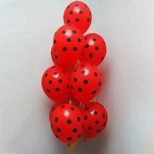 12 pçs vermelho preto bolinhas látex balões joaninha decorações do chá de fraldas hélio bola casamento feliz aniversário crianças festa balões