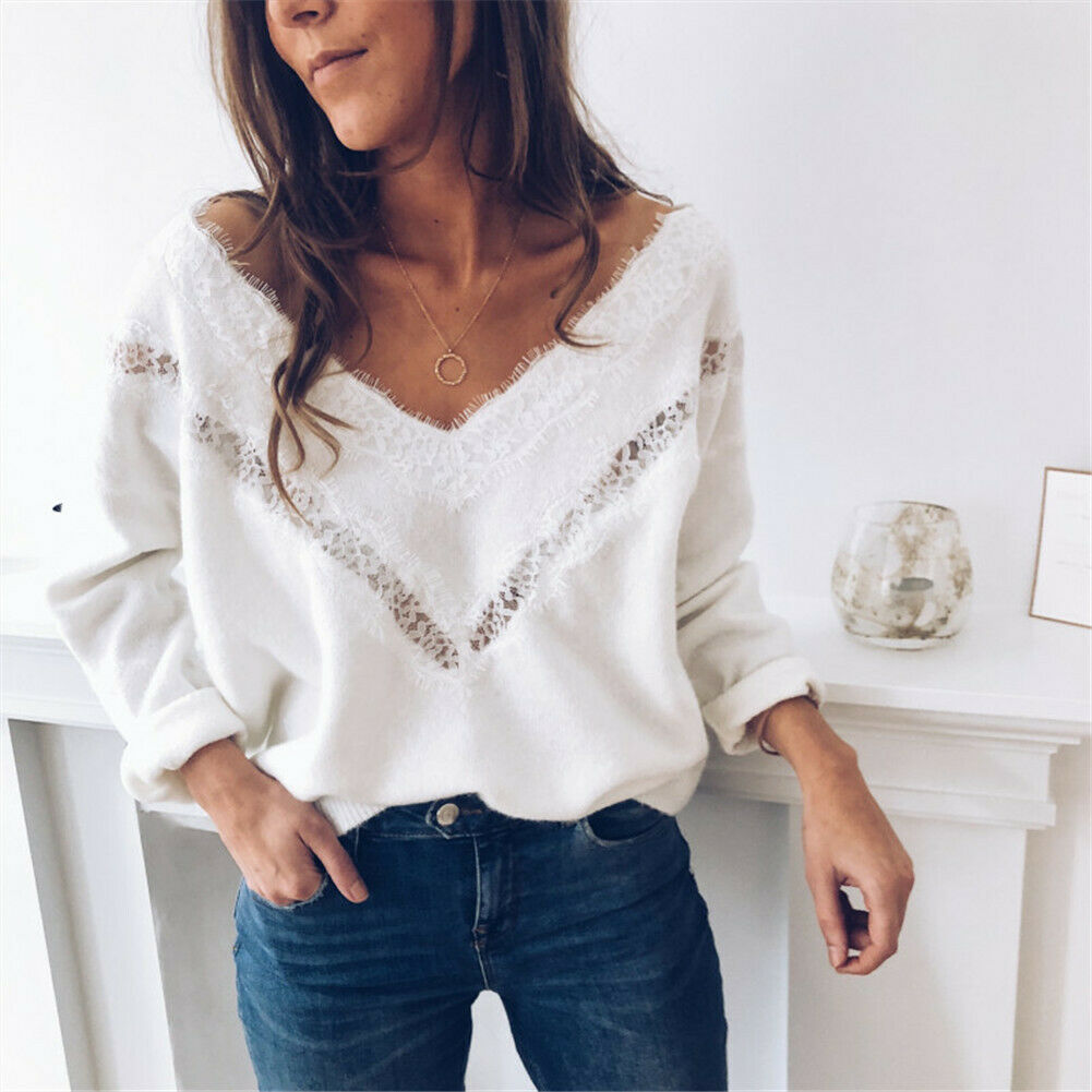 Hirigin 3 Color Women Plus Size Boho Floral V-Neck Long Sleeve Sweater Pullover Casual Winter Clothes Women Tops S-2XL
