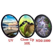KnightX UV CPL ND zmienny polaryzator filtr obiektywu kamery 49mm 52mm 55mm 58mm 62mm 67mm 77mm dla d3300 d5300 700d 400d 1200d