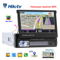 Hikity 1 din 7 Universal Car Radio GPS Navigation Bluetooth Rear View Camera Auto radio Video Player MP5 Stereo Audio FM USB SD