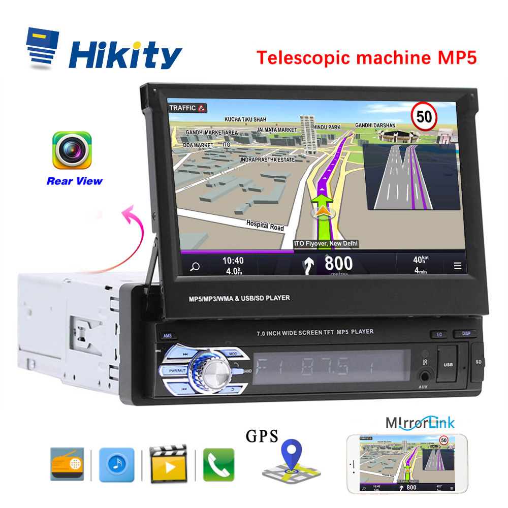 Hikity 1 din 7 Universal Car Radio GPS Navigation Bluetooth Rear View Camera Auto radio Video Player MP5 Stereo Audio FM USB SD image