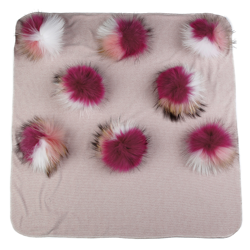 Newborn Baby Warm Cotton Swaddling Blanket Travel Sleeping Bedding Swaddles Wrap With 15cm Triple Color Real Fur Pompom