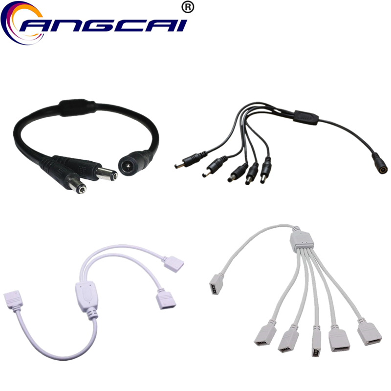 Splitter Cable Connector Adapter DC 4PIN Female 1 To 2/5 Way Male 5.5x2.1MM RGB For LED Strip Light CCTV Camera Extended Wire