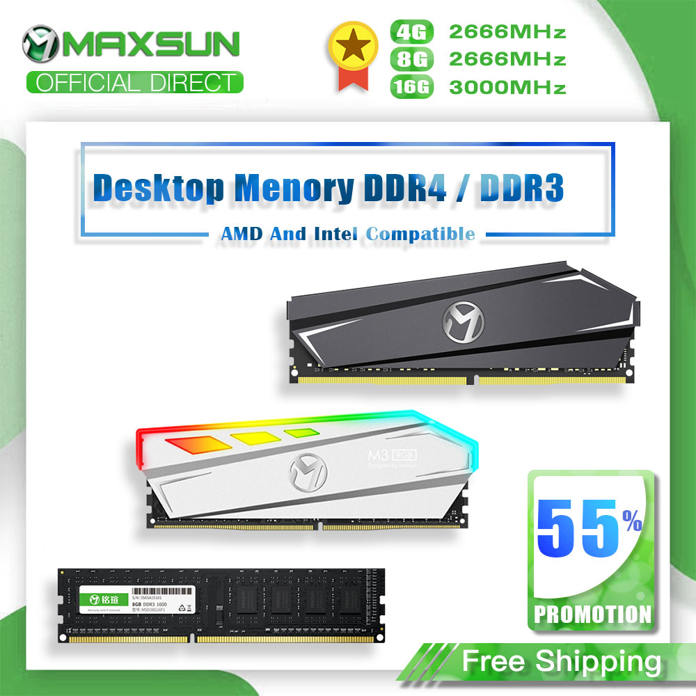 MAXSUN <font><b>Ram</b></font> DDR4 4GB 8GB Memory <font><b>DDR3</b></font> 1600 2666MHz <font><b>Memoria</b></font> <font><b>Rams</b></font> Dimm DDR4 1.2V 288Pin <font><b>16GB</b></font> Intel/AMD Desktop Memory with Heat Sink image