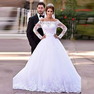 Vintage Princess White Lace Long Sleeve Bridal Wedding Gowns Off Shoulder Bateau Neck Wedding Dresses for Bride Illusion Back
