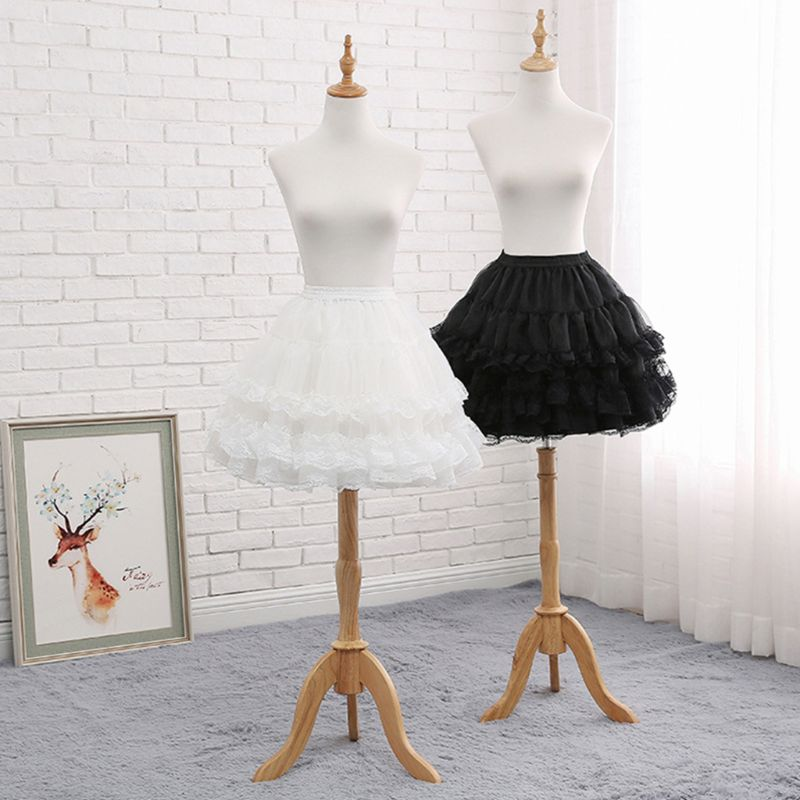 Women Floral Lace Short Petticoat Lolita Cosplay Underskirt Hoopless Crinoline