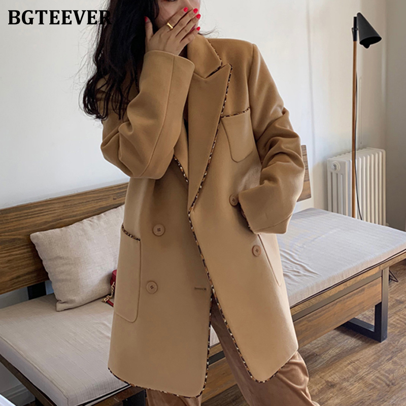 BGTEEVER Winter Thicken Warm Women Woolen Blazer Notched Collar Double-breasted Patchwork Female Suit Jacket Blaser Femme 2020