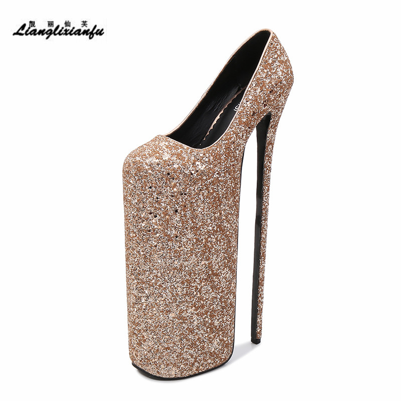 LLXF Catwalk Shows Nightclub Round Toe <font><b>30cm</b></font> Super High Thin <font><b>Heels</b></font> Shoes woman Stiletto female 20cm platforms Sequins party Pumps image