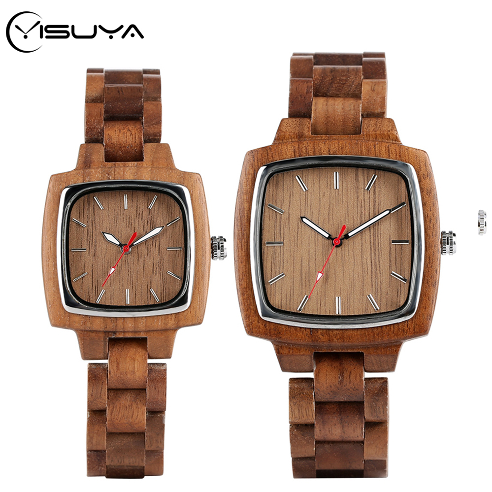 YISUYA Walnut Wooden Watches For Lovers Couple Men Watch Women Woody Band Reloj Hombre 2020 Clock Male Hours Top Souvenir Gifts