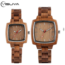 YISUYA Walnut Wooden Watches for Lovers Couple Men