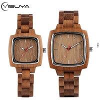 Yisuya nogueira de madeira relógios para amantes casal relógio masculino amadeirado banda reloj hombre 2020 horas masculino presentes lembrança superior