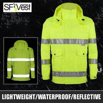 Fluorescet Yellow Reflective Rain Coat Mens Safety Working Uniform Outwear Coat Reflective Striped Jacket