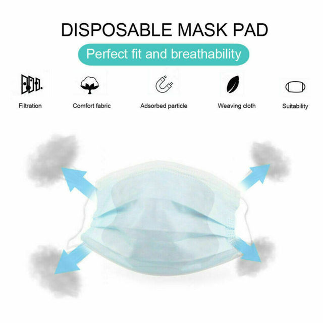 100Pcs Anti-Flu Gasket Face Mask Pad Replacement Filter Activated Carbon Breathing Filter Disposible Mouth Mask Pad 2