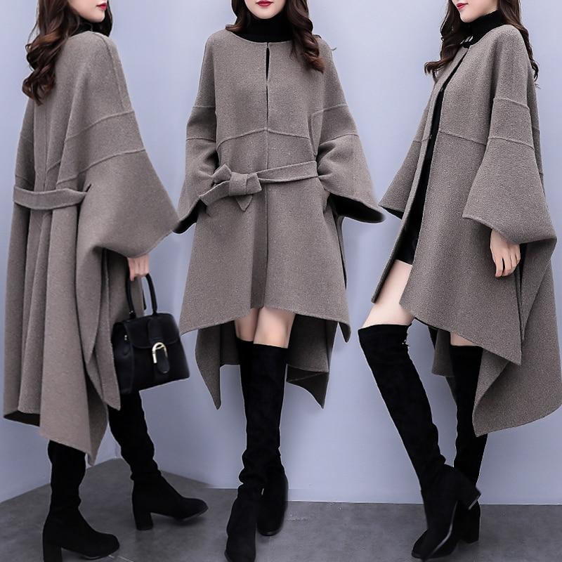 2019 Autumn Winter New Women Cloak Woolen Coat Popular Woolen Coat Women's Korean Loose Long High Quality Overcoat Plus Size 3XL