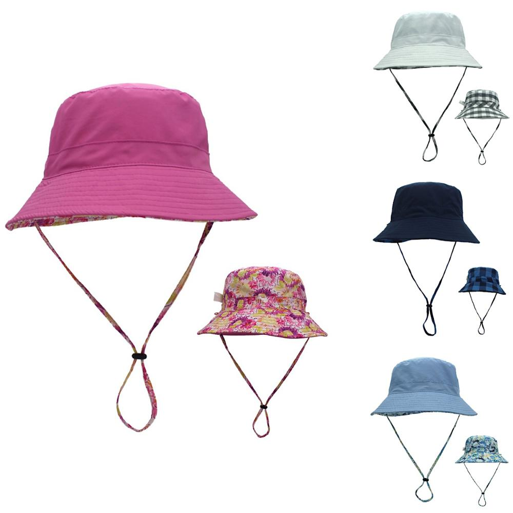 Connectyle Women Ladies Bucket Hat Wide Brim Packable Cotton Reversible Sun Protection Hat With Detachable Cord For Summer
