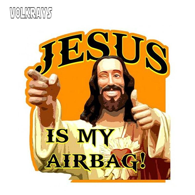 Забавная Автомобильная наклейка Volkrays «Иисус Моя подушка безопасности», виниловая Водонепроницаемая Солнцезащитная креативная наклейка, д...