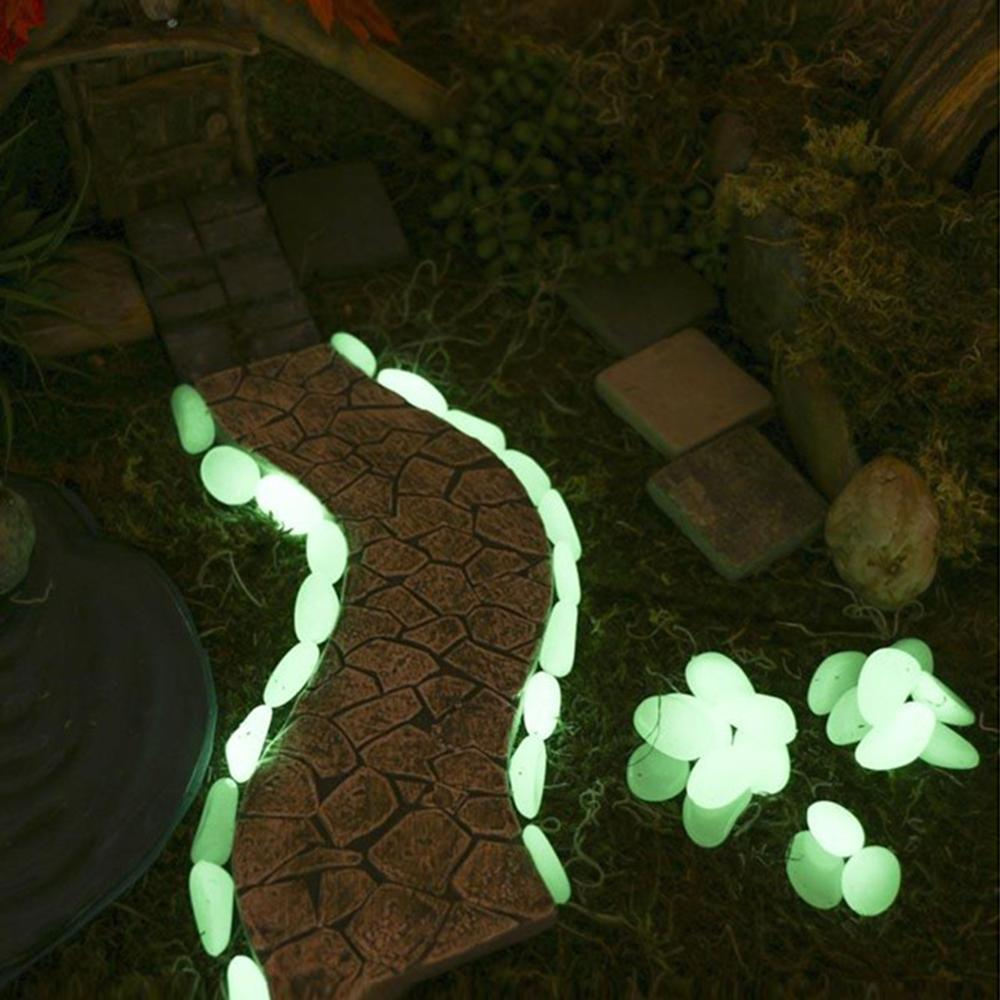 50pcs/lot Garden Yard Decor Luminous Stones Glow In Dark Garden Pebbles Glow Stones Rocks For Walkways Garden Path Patio Lawn