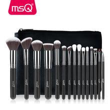 MSQ Professional 15 sztuk pędzle do makijażu zestaw Powder Foundation Eyeshadow zestaw pędzli do makijażu kosmetyki syntetyczne włosy PU skórzane etui