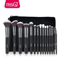 MSQ Professional 15pcs Makeup Brushes Set Powder Foundation Eyeshadow Make Up Brush Kit Cosmetics Synthetic Hair PU Leather Case