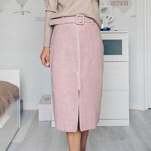 Image 3 - Lizkova ורוד עיפרון חצאית חורף 2020 נשים גבוהה מותן פיצול Faldas עם חגורת אלגנטי רשמי גבירותיי Jupes 2810
