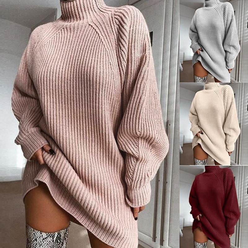Autumn Winter High Collar Women Sweaters Long Sleeve Casual Sweater Knitted Jumpers Sweater Pullover Women Oversized Sweater