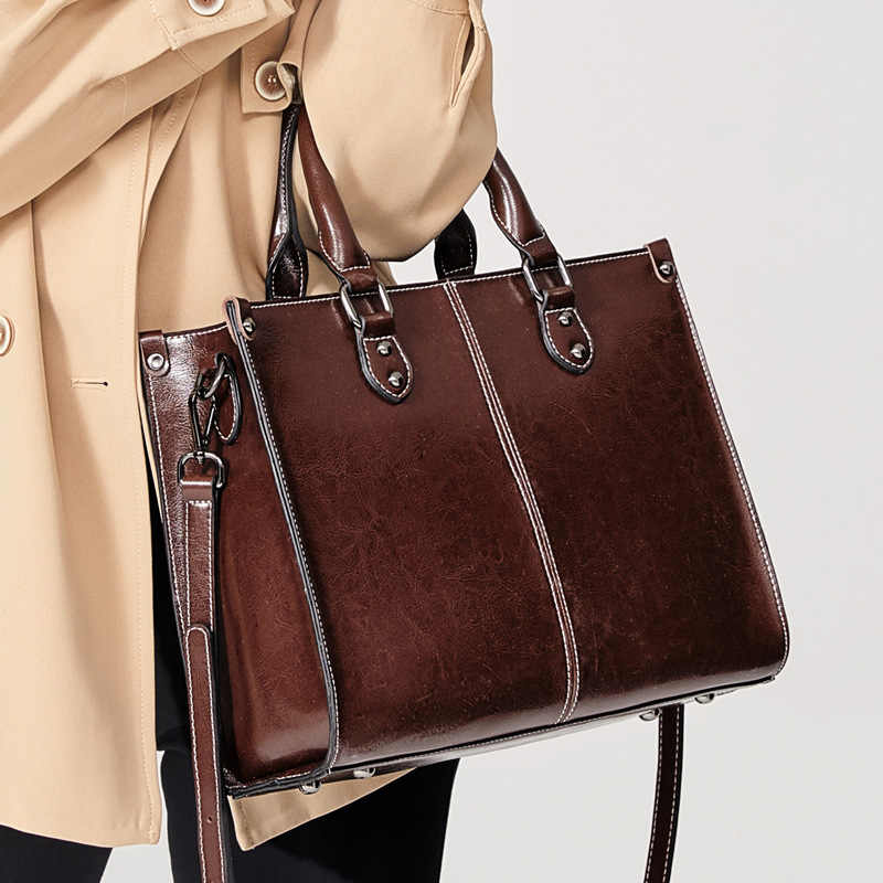 Vrouwen Echt Lederen Schoudertas Shopping Tote Fashion Office Dames Handtas Echte Koeienhuid Messenger Crossbody Top Handvat Tassen