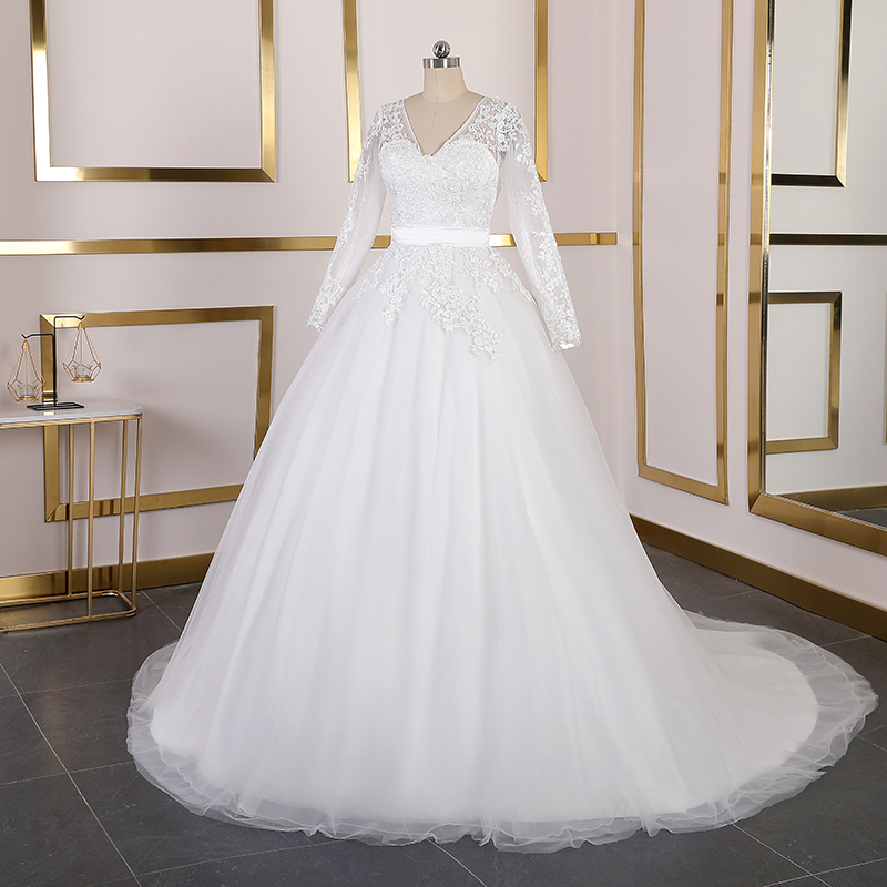 Real Photos Long Sleeves Lace Wedding Dresses V Neck Court Train Wedding Gowns Bridal Gowns Lace Up Plus Size Vestido De Noiva