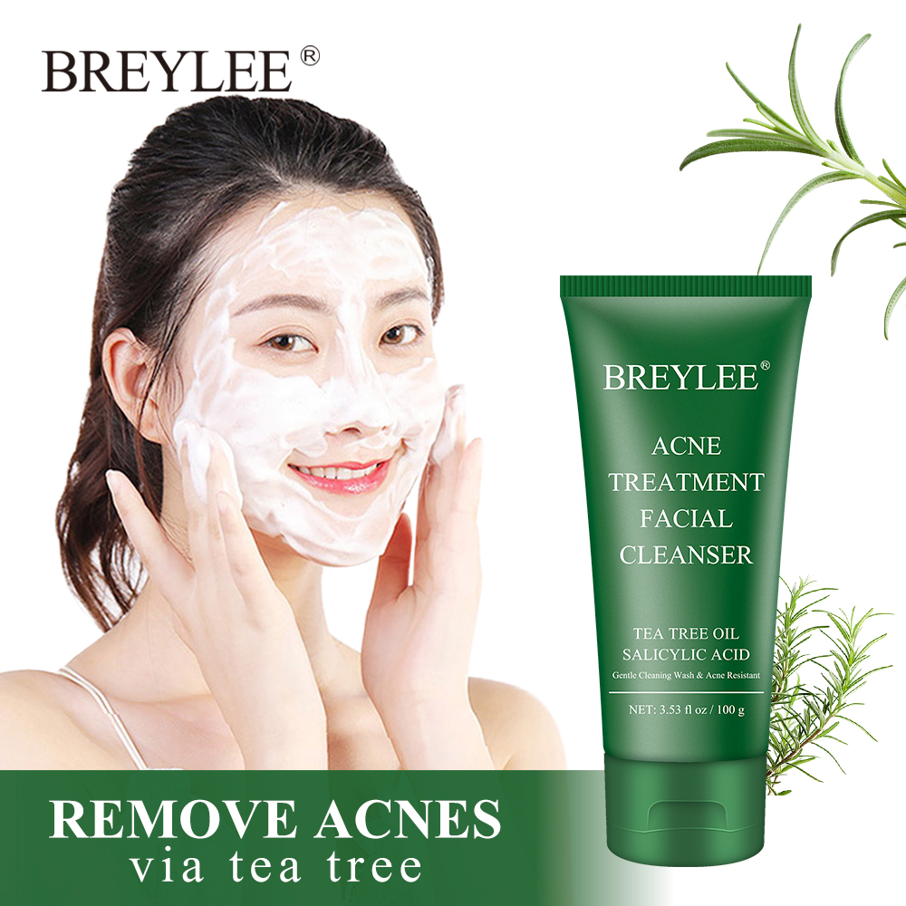 BREYLEE Facial Cleanser Acne Treatment Face Cleansing Wash Mask Skin Care Cleaner Shrink Pore Oil Control Remove Blackhead 100g