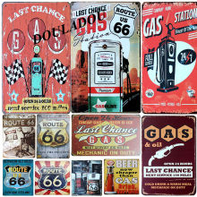 [Douladou] Gas Last Route 66 Metal Sign Tin Sign Shop Pub Club Bar Hotel Decoration Fashion Wall Sticker Retro Bar Decor 20x30CM