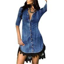 Vintacy Lace Sexy Denim Dress Women Mini V Neck Black Club Short Dresses Elegant Blue Vintage Casual Autumn 2019 Ladies Fashion