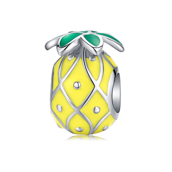 Couple Little Girl Boy Pineapple Food Avocado beads Charm Charms Gem Color: EFC128